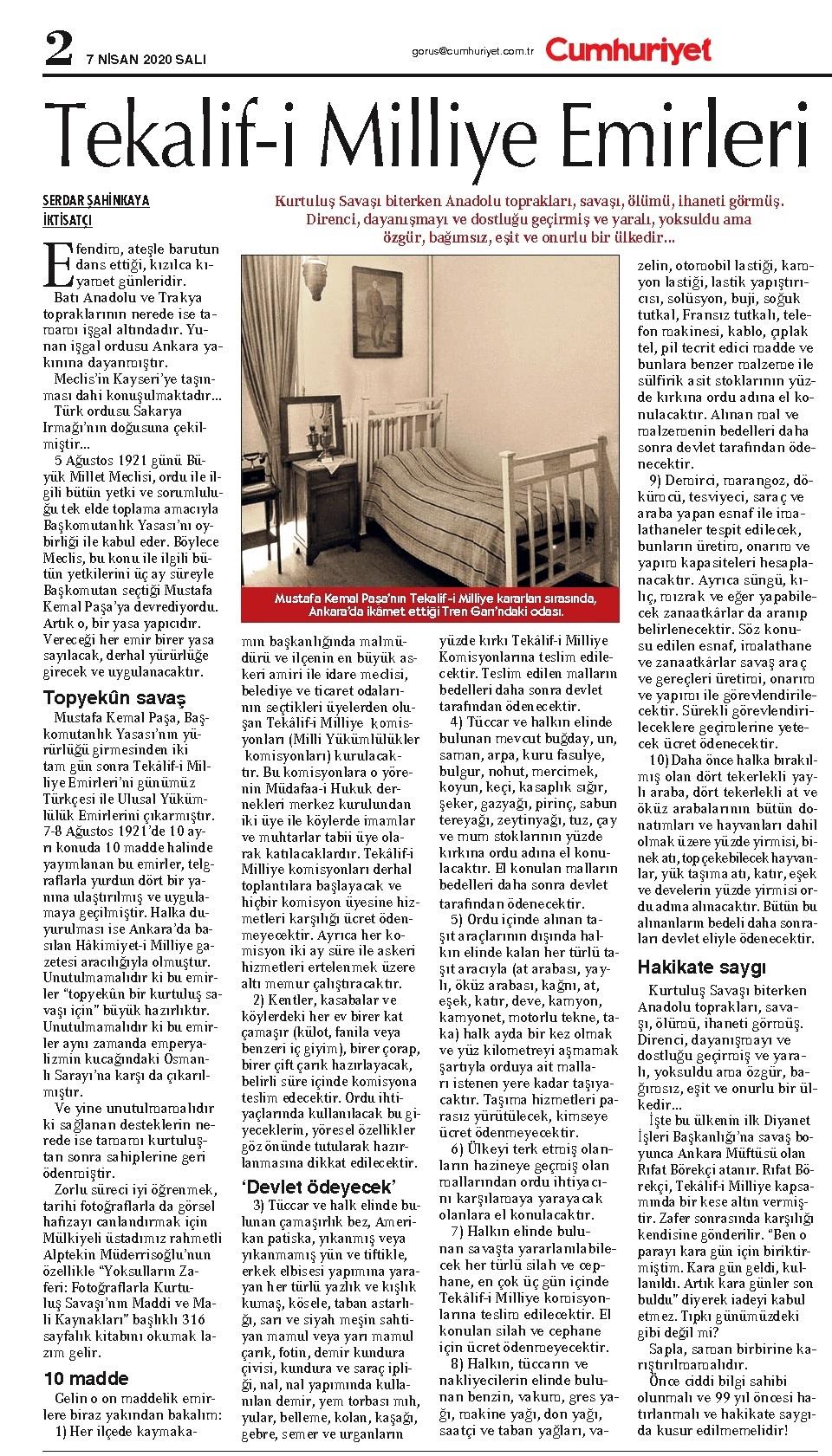 Serdar Şahinkaya-TEKALİF-İ MİLLİYE EMİRLERİ-Cumhuriyet Gazete-7 Nisan 2020