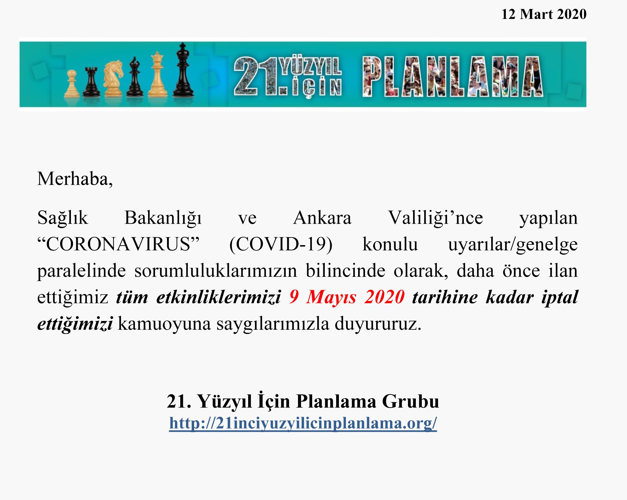Etkinlik Erteleme-12 Mart 2020
